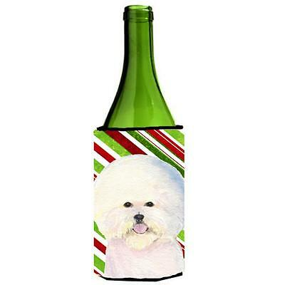 Bichon Frise Candy Cane Holiday Christmas Wine bottle sleeve Hugger