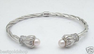14.70gr Diamonique CZ Pearl Twisted Hinged  Bangle Bracelet Real 14K White Gold