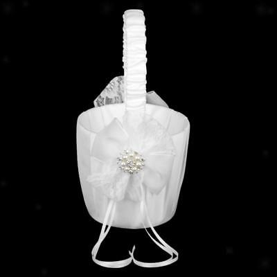 White Satin Lace Bow Crystal Pearl Diamante Wedding Party Flower Girl Basket