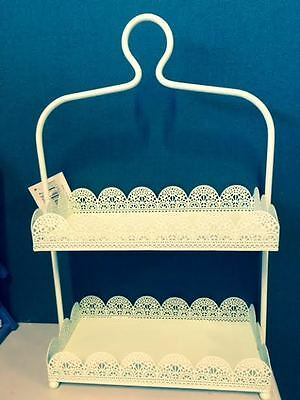 Rectangle Green Laser Cut Metal 2 Tier Cake Stand