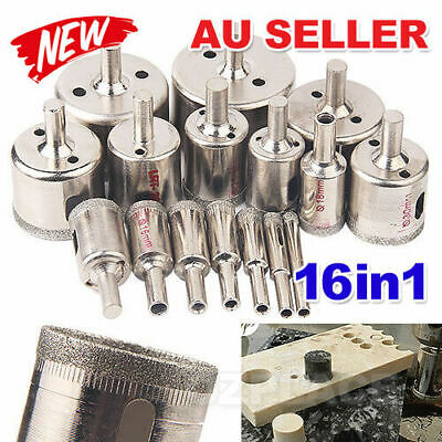 AU 16 pcs set 6-50mm Diamond Hole Saw Tile Drill Bit Ceramic Glass Coated Marble