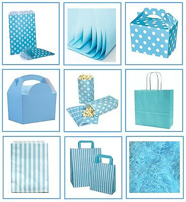 Light Baby Blue ~ Gift Bags ~ Spotty & Stripe Candy Sweet Bag ~ Party Supplies