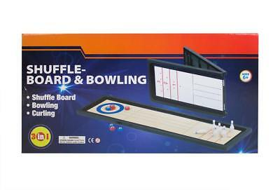 3 in 1 Table Top Shuffle Board Curling Bowling Games Kids - 6 years +