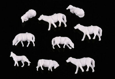 60pcs 1:87 UnPainted White Farm Animals Sheep Collie Dog Shepherd HO Scale Model