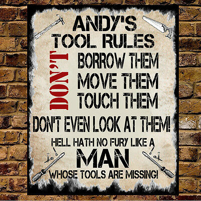 Personalised Metal Dad Grandad Mum Woman Man Cave Shed Tool Rules Sign Gift