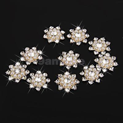 10 Rhinestone Crystal Pearl Flower Craft Embellishment Flatback Buttons Gold