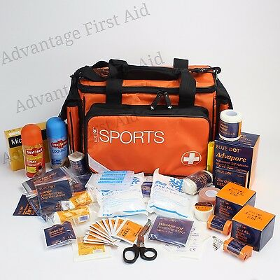 Premium Advanced Sports Team First Aid Kit Bag & Supplies; For Sporting Injuries