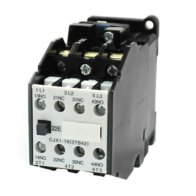 35mm DIN Rail Mounted 3 Pole 2NO 2NC 220V 50HZ Coil AC Contactor CJX1-16
