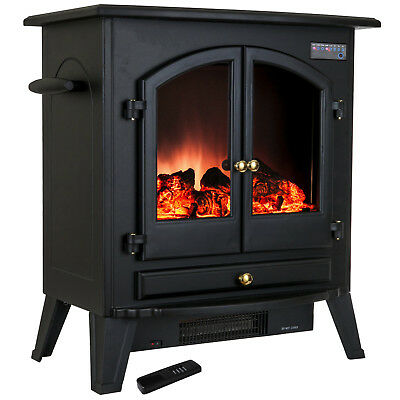 """25"""" Portable Electric Heat Stove Fireplace Freestanding Tempered Glass w/ Remote"""