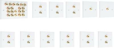 Complete 9.2 SOLDER-LESS White Speaker Audio Wall Face Plate kit Banana Plugs