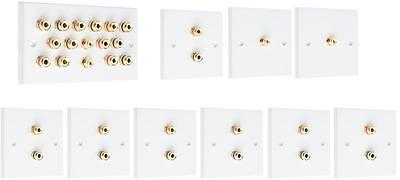 Complete 7.2 SOLDER-LESS White Speaker Audio Wall Face Plate kit Banana Plugs