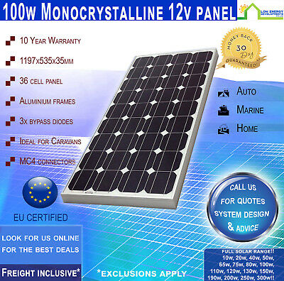 MOST POPULAR 100 W 12V Mono Solar Panel  ~ Freight Inclusive ~ 10 Yr Wty ~