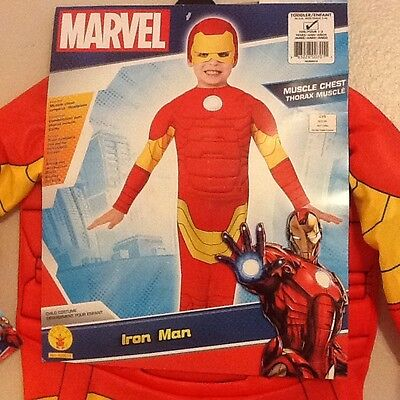 New Rubie's Marvel Muscle Chest Iron Man Avengers Child Costume Toddler Size 1-2