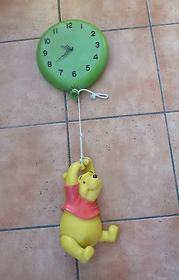 Rare - Large Winnie the Pooh hanging on Balloon Clock - Disney