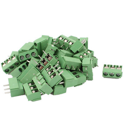 40 Pcs 3 Way 3P PCB Mount Screw Terminal Block Connector 5.08mm Pitch 14-22AWG