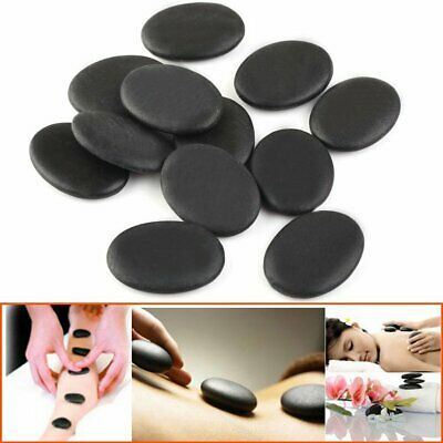 HOT STONE MASSAGE: Set of 12 Basalt Stones Relaxing Spa Treatment at Home 3x4cm