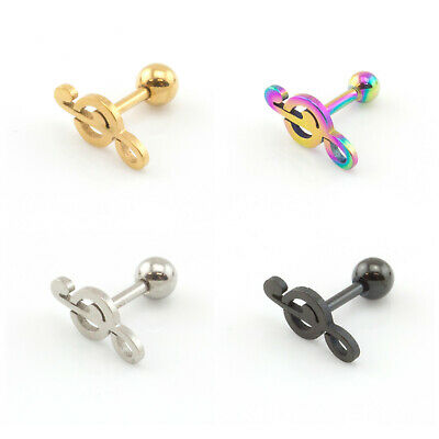 Star, Music Note, Heart Shaped CARTILAGE BAR TRAGUS HELIX PIERCING STUD