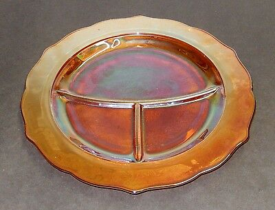 """Vintage Iridescent Orange Carnival Glass 11"""" Divided Dinner Plates - By Federal"""