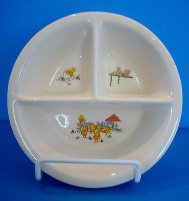 Vintage Porcelain Baby Dish Divided in 3 Parts.  Pattern: Baby Chicks