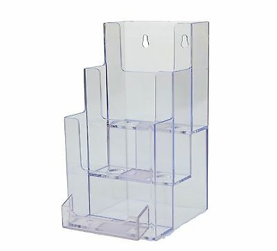 3-Tier Tri-Fold Wall Mount Countertop Brochure Holder With Business Card Holder
