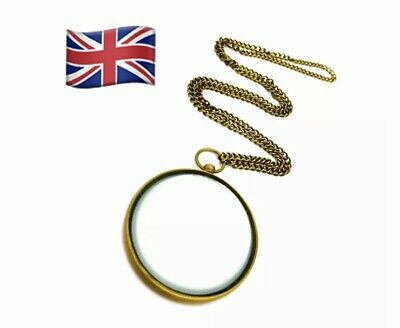 Sherlock Holmes Folding -RollOut Solid Brass Magnifying Glass with chain