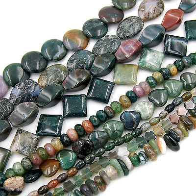 """Natural Colorful Indian Agate Gemstones Other Shape Loose Beads 15.5"""" Pick Size"""
