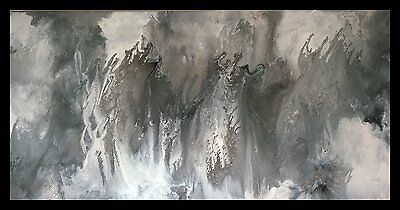 Taupe Charcoal White Brown  Painted Modern Abstract Canvas Painting Original Art