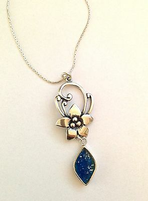 Special Israeli Jewelry-925 Sterling Silver Ancient Roman Glass Flower Necklace