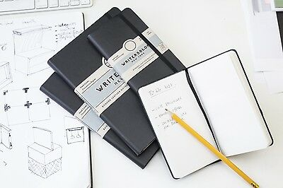 Kikkerland Writersblok Bonded Leather Black Cover Pocket Notebook Note Pad Gift