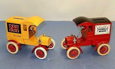 Vintage Pair Of Ertl Co. Replica 1905 Ford's First Delivery Car Coin Bank