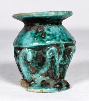 Very Rare Ancient Islamic Faience Cosmetic Pot, C.10th-12th Century A.D.