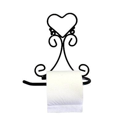 Toilet Paper Holder Wall Mount Cast Iron Brown Heart Shape New