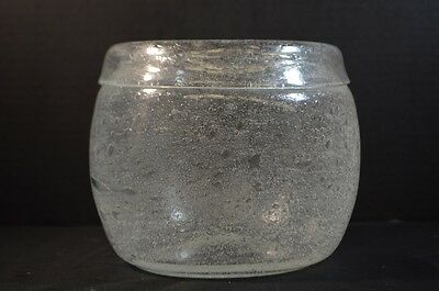 Mid Century Art Glass Bowl with Bubbles