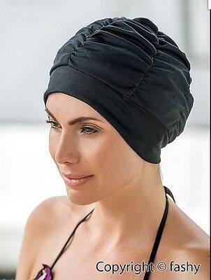 Ladies Swimming Hat/Cap/Turban Black with SILICONE SEAL NEW. By Fashy 3403