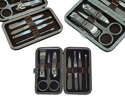 7pcs Leather Travel Pedicure Manicure Set Nail Clipper Cleaner Scissor Kit Case