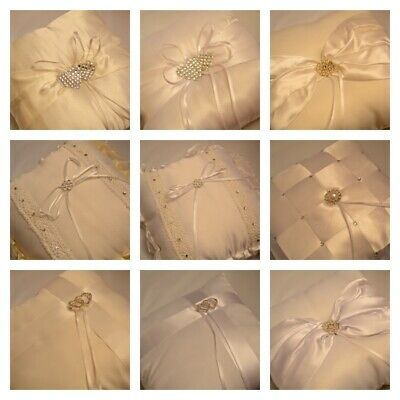WEDDING RING CUSHION PILLOW 19x19cm WITH SMALL CRYSTAL & PERAL WHITE & IVORY UK!