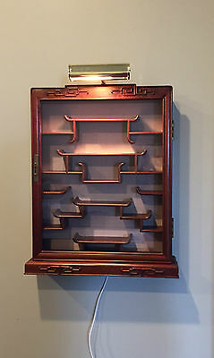 Vintage Chinese Curio Display Cabinet with Light