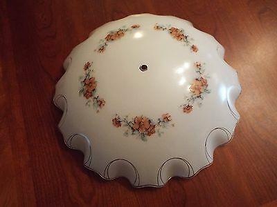 "Antique Glass Ceiling Light Cover White with Floral Design 16"" in Diameter"