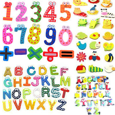 15/26pcs Wooden Magnetic Fridge Magnet Number Alphabet Letter Educational Toys N
