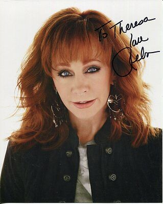 REBA MCENTIRE autographed 8x10 color photo      COUNTRY SINGER    To Theresa