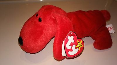 Ty ROVER the Red Dog Beanie Baby 4101 MINT- Retired - With Tush Tag Misprint