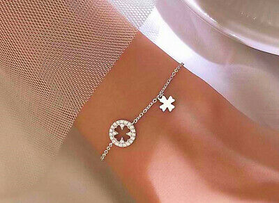 Four Clover 925 Sterling Silver Bracelet Bangle Womens Ladies Jewellery Gifts UK