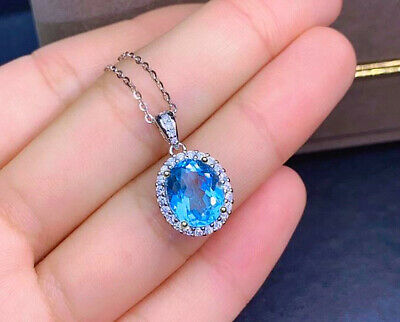 Women 925 Sterling silver Dolphin Crystal Pendant Necklace fashion jewelry UK
