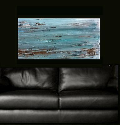 Blue Grey Brown Hand Painted Modern Abstract Canvas Painting Original Art