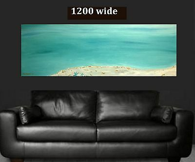LARGE 1.2mt 3D Hand Painted Ocean Seascape Abstract Canvas Painting Original Art