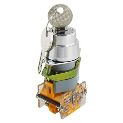 AC 660V 10A Two 2 Position Key Lock Rotary Selector Switch 4 Screw Terminal