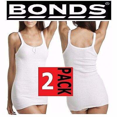 WOMENS 2 PACK x BONDS JUDY RIB TOP LADIES WHITE STRETCH SINGLET PLUS SIZE 12-20