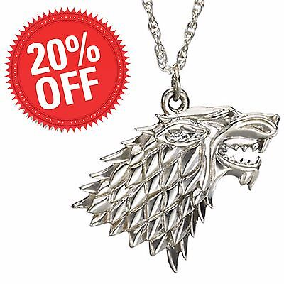 Game of Thrones Stark Silver Pendant Necklace 4.5 cm Die-Cast, with Chain