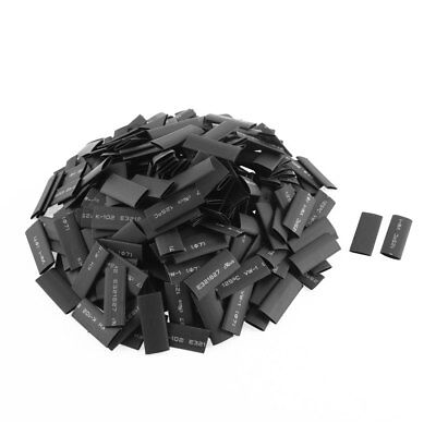 370pcs 7mm Dia Polyolefin 2:1 Heat Shrink Tubing Wire Wrap Sleeve 30mm Black