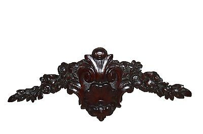 French Antique Hand Craved Mahogany Wooden Pediment - Flowers & Shell